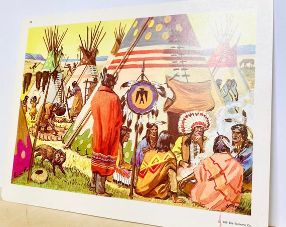 Vintage Native American Campground 9x12 The Economy Co. Flashcard