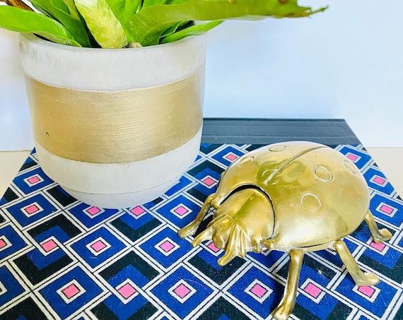 Rare Vintage Arthur Court Designs Brass Ladybug Ashtray or Trinket Box