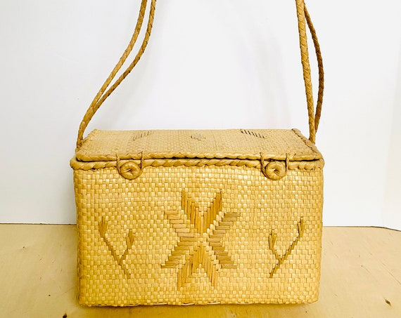 Vintage Woven Straw Shoulder Bag