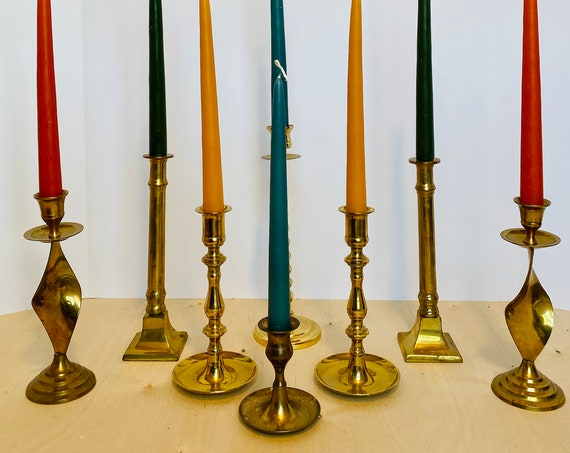 Set of 8 Mix & Match Vintage Brass Candlesticks