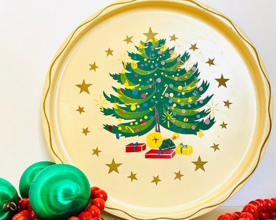 """Vintage Mid-Century Hand Painted Nascho Products Christmas Tree 11"""" Metal Tin Serving Tray - Vintage Christmas Decor"""