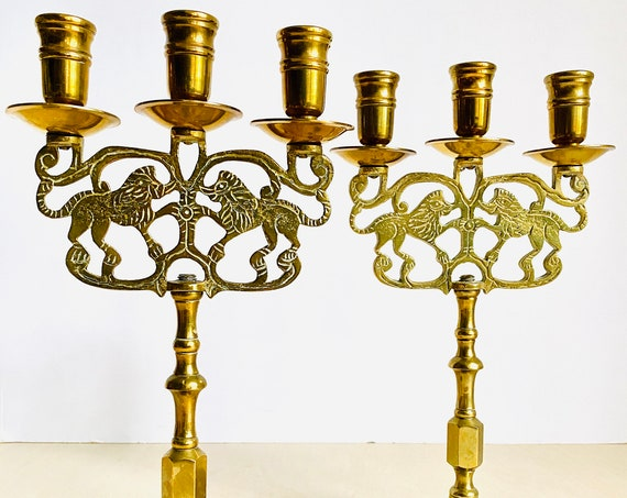 Pair of Vintage Double Lion Brass Candlestick Candelabra