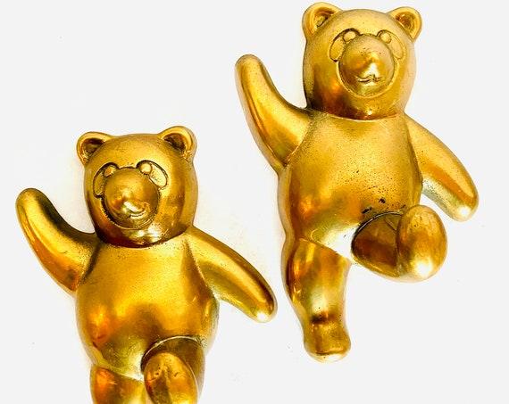 Pair of Vintage Mid-Century Brass Panda Bear Wall Hooks