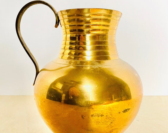 Vintage Mid-century Style Brass Pitcher or Vase, Made in India