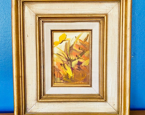 Vintage Mid-Century Martha S. M. Wills Signed Abstract Floral and Butterfly Abstract Oil Painting on Board Wall Art Decor