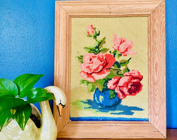 Vintage Bright and Colorful Framed Rose Still Life Needlepoint Art Wall Decor