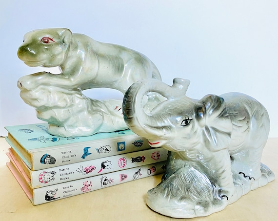 Vintage Iridescent Grey Panther and Elephant Ceramic Figurine Statue