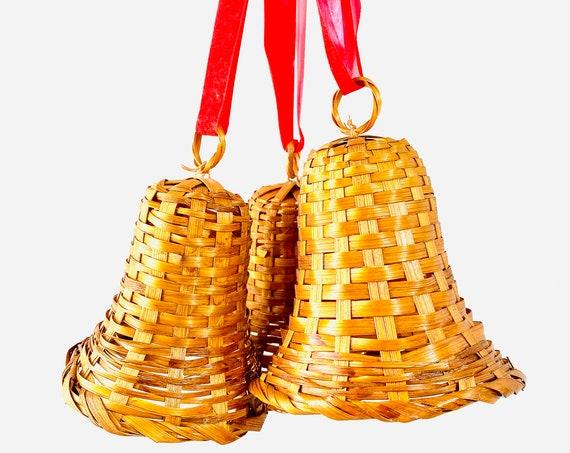 Set of 3 Vintage Wicker Bells - Christmas Decor - Large Christmas Ornaments