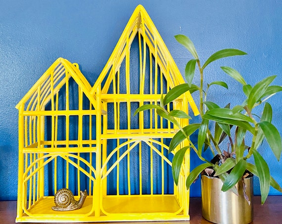 Vintage Yellow Wicker Rattan Bird Cage Wall Decor - Great for Displaying Your Favorite Nicknacks and Plants