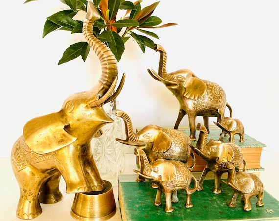 Family of Seven Vintage Mid-Century Etched Brass Elephants