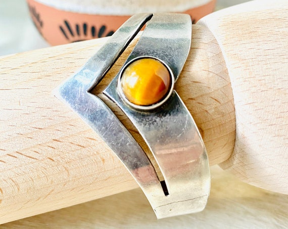 Vintage Sterling Silver Tiger's Eye Cuff Bracelet