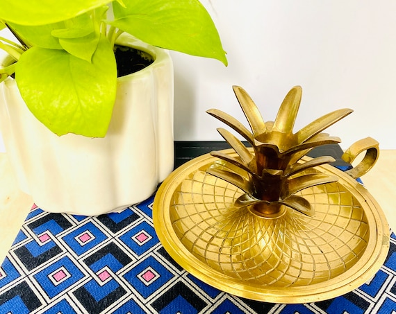 Mid-Century Brass Pineapple Candlestick Candle Holder with Handle