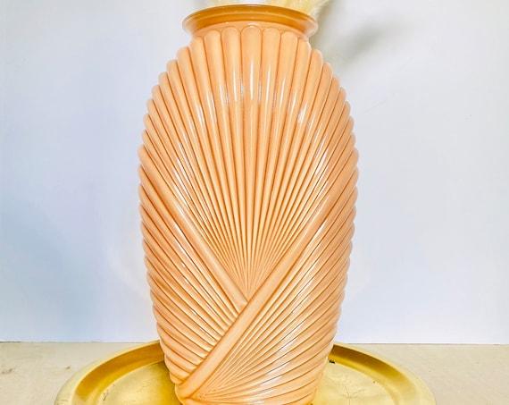 Vintage Peach/Coral Art Deco Belgium Pleated Glass Vase