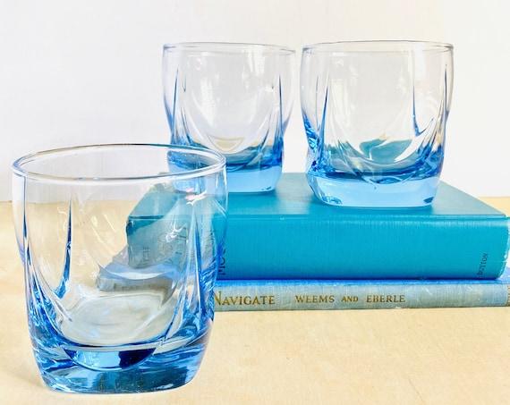Set of 3 Vintage Sky Blue Double Old Fashion Cocktail Glasses