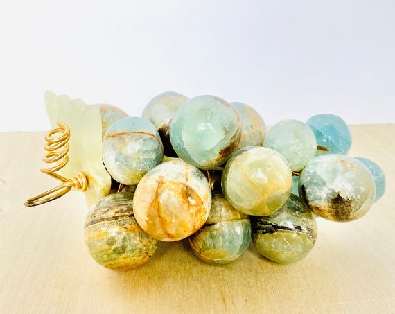 Vintage Mid-Century Carved Solid Amazonite Stone Bunch of Grapes