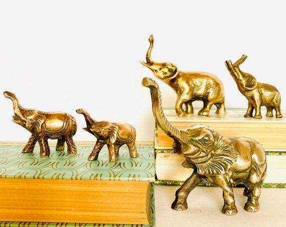 Family of Five Vintage Mid-Century Brass Elephants