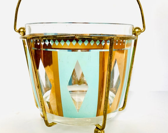 Vintage Mid-Century Anchor Hocking Turquoise and Gold Foil Ice Bucket