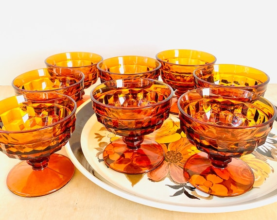 Set of 8 Vintage Amber Colony Whitehall Tall Sherbet or Champagne Coupe Stemware Glasses