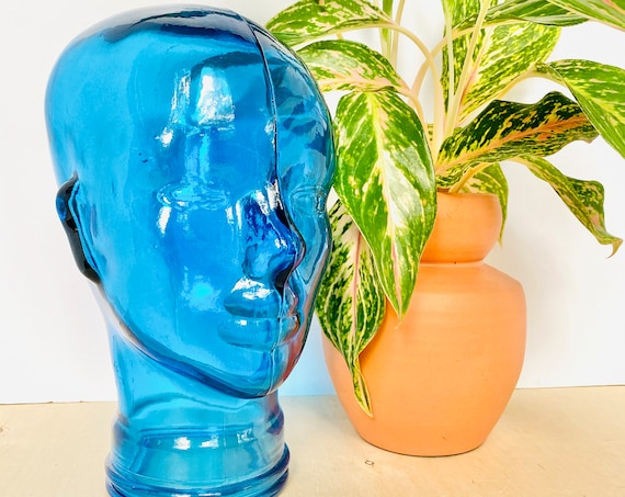 Vintage Blue Glass Mannequin Head