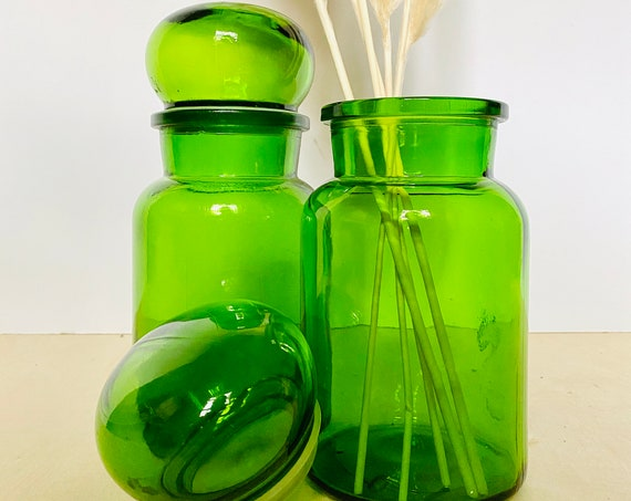 "Pair of 9"" Vintage Green Glass Lidded Apothecary Jars, Made in Belgium"