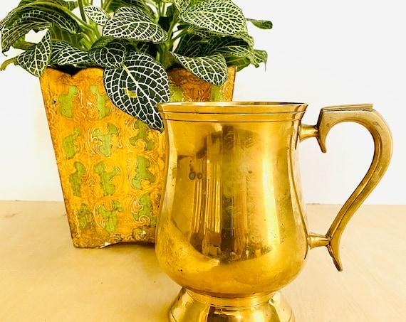 Vintage Brass Pedestal Stein Mug