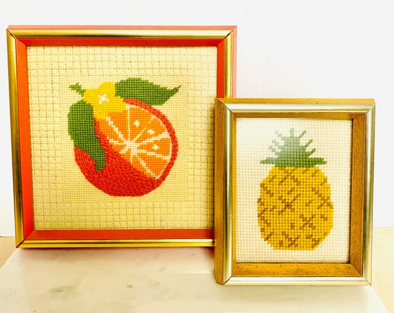 Pair of Vintage Mid-Century Framed Orange and Pineapple Fruit Needlepoint Wall Art Decor