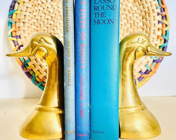 Vintage Mid-Century Brass Duck Bookends