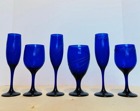 Set of 6 Mismatched Vintage Cobalt Blue Stemware
