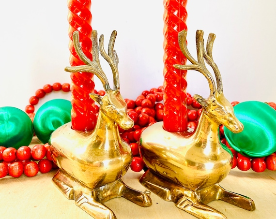 Pair of Vintage Mid-Century Brass Deer Candlestick Candle Holders - Vintage Christmas Decor