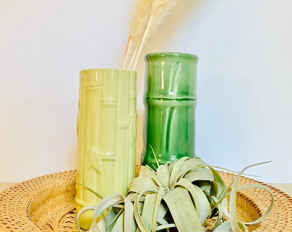 Pair of Vintage Mid-Century Green Bamboo Ceramic Vases - Libbey Vase