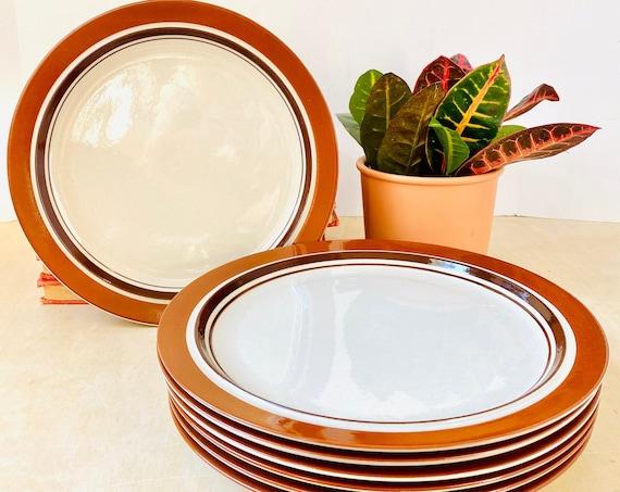 "Set of 7 Vintage Carousel Stoneware Sienna 10.5"" Dinner Plates"
