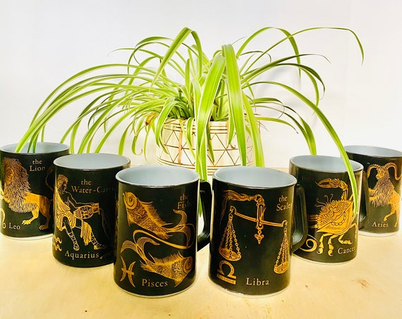 Vintage Federal Glass Astrology Zodiac Coffee Mugs - Aquarius, Pisces, Aries