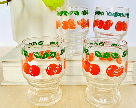 Set of 4 Vintage Mid-Century Libbey Orange Juice Glasses