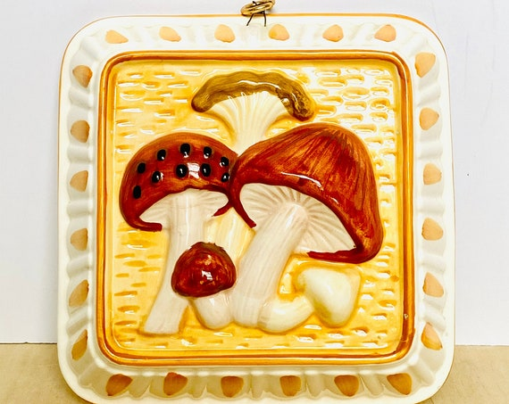 Vintage Ceramic Mushroom Jello Mold Wall Decor