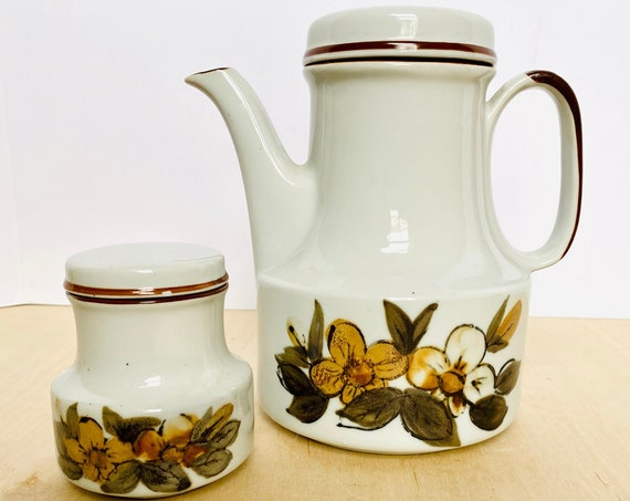 Vintage Ceramic Floral Stoneware Coffee Pot and Matching Sugar, Made in Korea