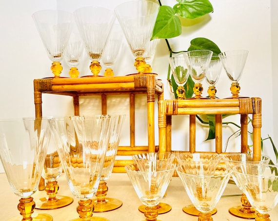 Vintage Amber Stemmed Ribbed Fluted Glasses Serving Set - Multiple sizes available: red wine, white wine, cordial, shot