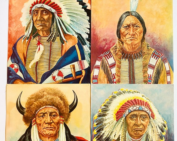 Vintage James L Vlasaty Native American Chief Portraits