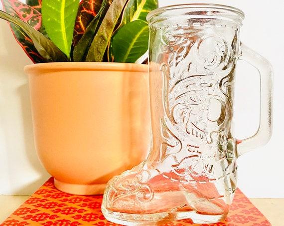 Vintage Glass Cowboy Boot Mug or Vase