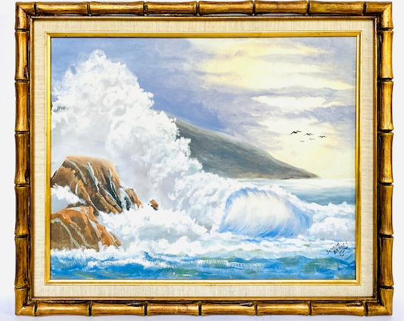 Vintage Original Oil Painting of Seascape/Ocean/Beach/Waves In Gold Bamboo Frame by Jonnie Atkins