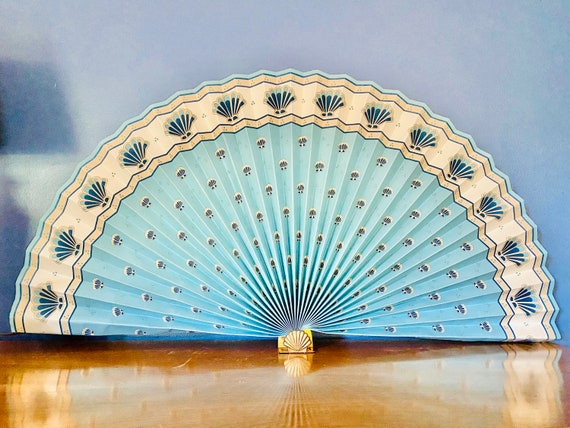 Vintage Extra Large Lilian Vernon Pleated Paper and Brass Shell Motif Fan Decor