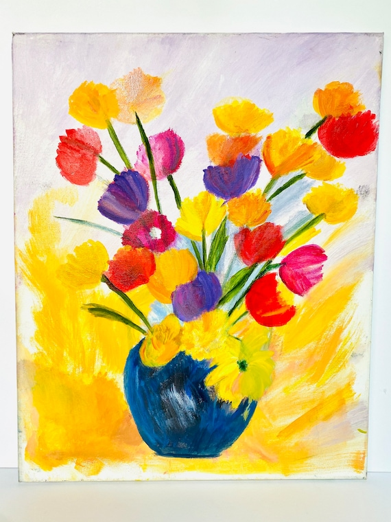 Vintage Brightly Colored Floral Still Life Oil Painting on Canvas Art Wall Decor