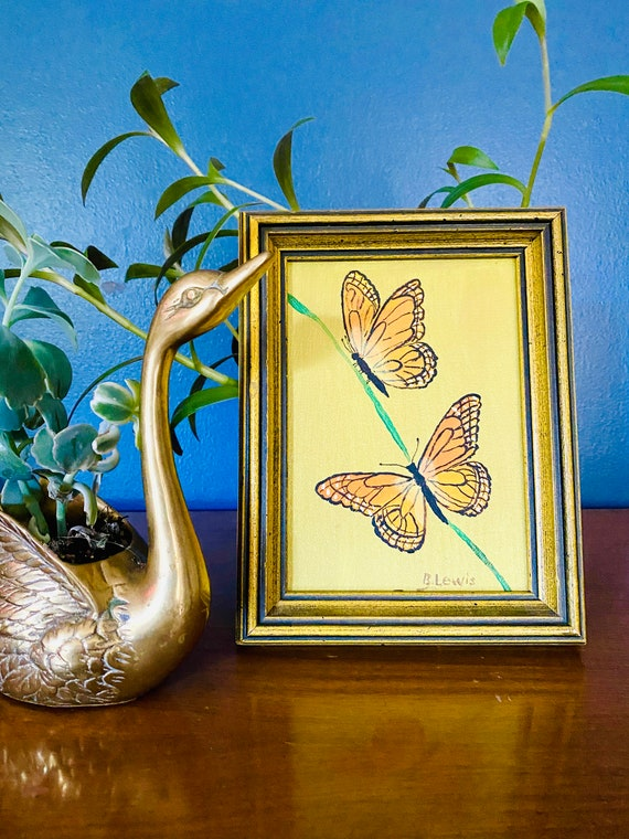 Vintage B. Lewis Signed Monarch Butterfly Oil Painting on Board Wall Art Decor