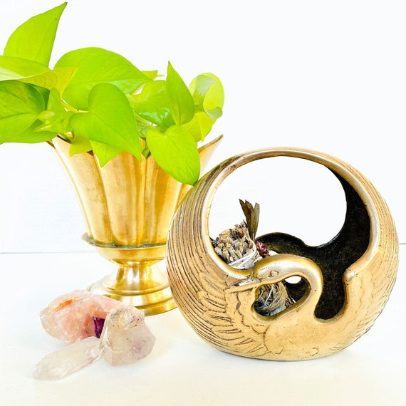Vintage Mid Century Brass Swan Basket Planter