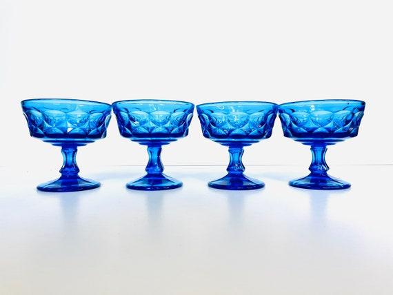 Set of 4 Vintage Blue Noritake Perspective Sherbet or Champagne Coupe Stemware Glasses