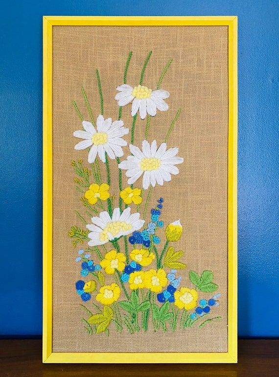"Large 27"" Vintage Mid-Century Yellow, White and Blue Floral Handmade Crewel Wall Art"