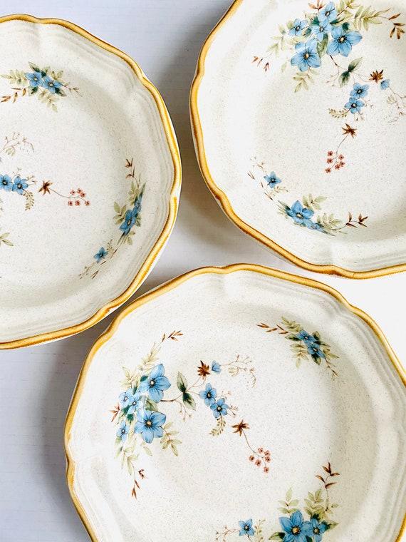 "Set of 3 Vintage Mikasa Garden Club Day Dreams 8.5"" Blue Floral Soup Bowls"