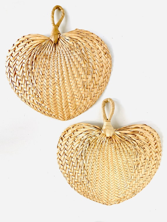 Pair of Vintage Boho Chic Decorative Woven Straw Fans for Wall Decor