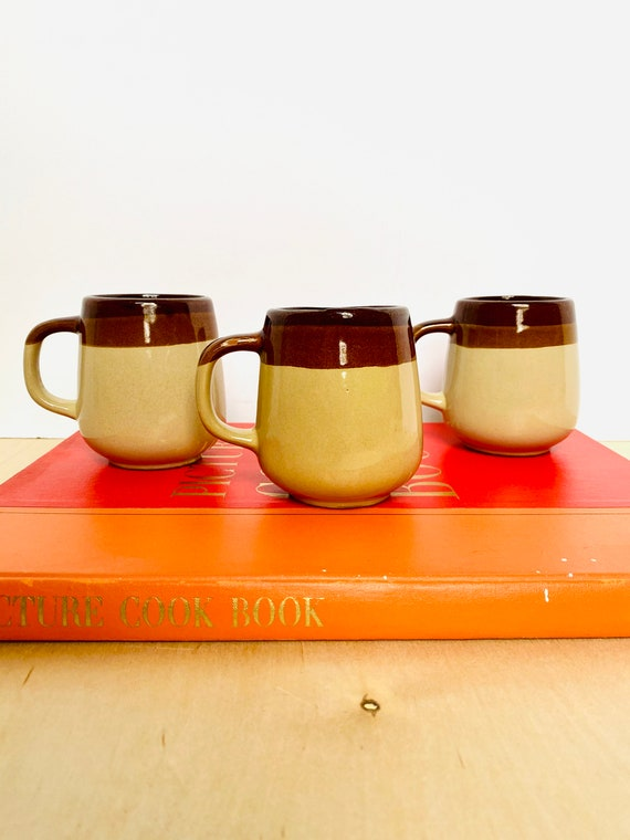 Vintage Glazed Stoneware Coffee Mugs, Made in Taiwan