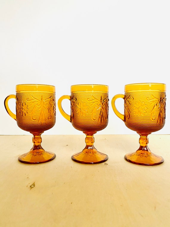Set of 3 Vintage Indiana Glass Company Sandwich Pattern Amber Pedestal Glasses with Mug Handle