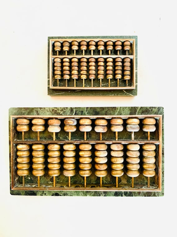 Vintage Mid-Century Brass and Green Marble Abacus Desk Accessory